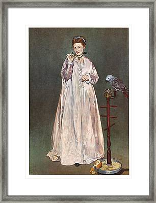 Woman With A Parrot Framed Print