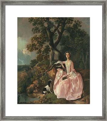 Woman With A Spaniel, C.1749 Framed Print