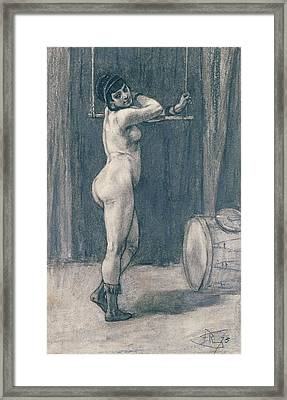 Woman With A Trapeze Framed Print by Felicien Rops