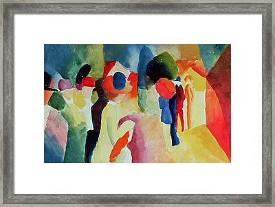 Woman With A Yellow Jacket Framed Print by August Macke