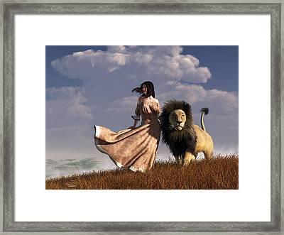 Woman With African Lion Framed Print by Daniel Eskridge