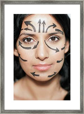 Woman With Arrows On Face Framed Print by Ian Hooton