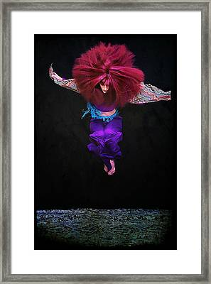 Woman With Big Hair Jumping Framed Print by Cynthia Saxon Cox