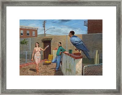 Woman With Bird Framed Print by Alfredo Arcia