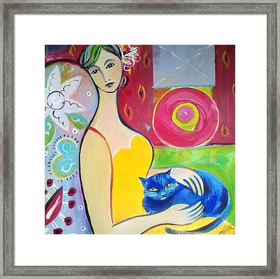 Woman With Blue Cat Framed Print by Marlene LAbbe