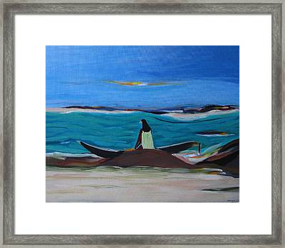 Woman With Boat Framed Print by Fatima Neumann