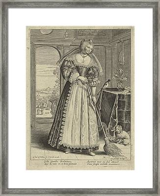 Woman With Broom In An Interior, Theodor Matham Framed Print by Theodor Matham And C. David