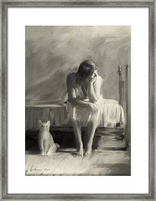 Woman With Cat Framed Print by H James Hoff