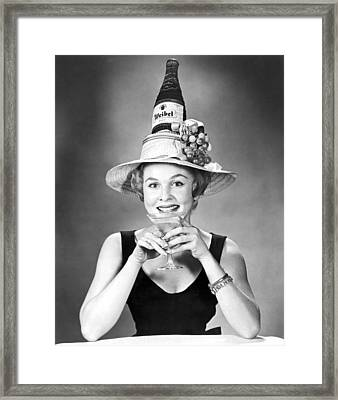 Woman With Champagne Hat Framed Print