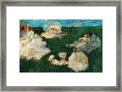 Woman With Children In Garden Framed Print by Gaetano Previati