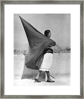 Woman With Flag, Mexico City, 1928 Framed Print by Tina Modotti