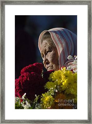 Woman With Flowers - Day Of The Dead Mexico Framed Print