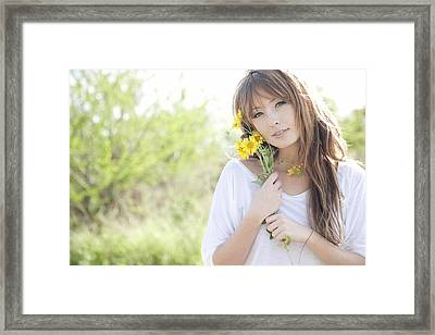 Woman With Flowers Framed Print by Brandon Tabiolo