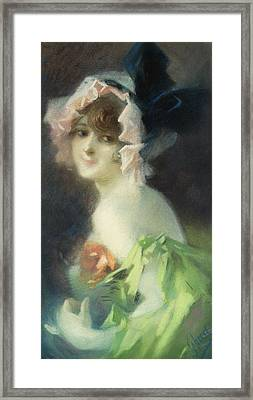 Woman With Gloves Framed Print by Jules Cheret