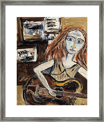 Woman With Guitar Framed Print by Maggis Art
