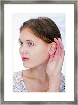 Woman With Hand Cupping Ear Framed Print