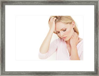 Woman With Hand On Head Framed Print