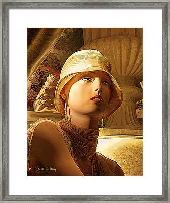 Woman With Hat - Chuck Staley Framed Print by Chuck Staley