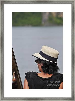 Woman With Hat Looking Away Framed Print by Sami Sarkis