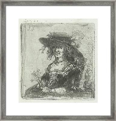Woman With Hat, Print Maker Jan Chalon Framed Print