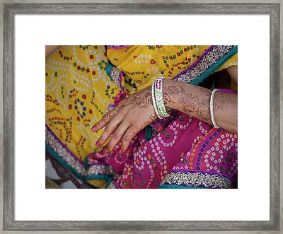 Woman With Henna Tattoo On Her Hand Framed Print by Panoramic Images