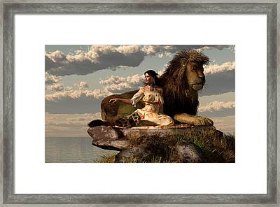 Woman With Lion Framed Print