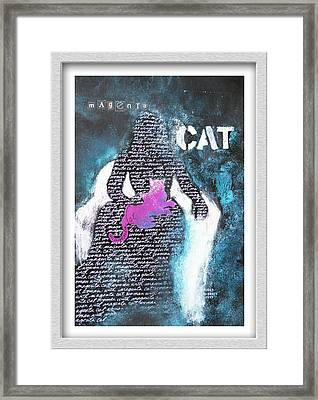 Woman With Magenta Cat Framed Print by Eve Riser Roberts