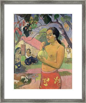 Woman With Mango Framed Print