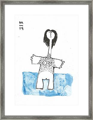 Woman With Marking Blue  Framed Print