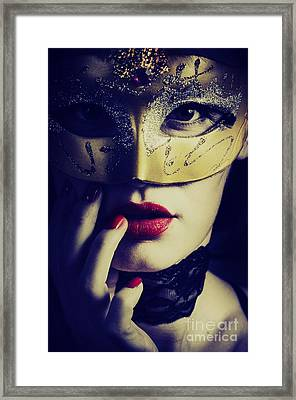 Woman With Mask Framed Print by Jelena Jovanovic
