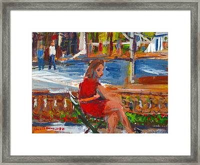 Woman With Orange Belt  Framed Print by Edward Ching