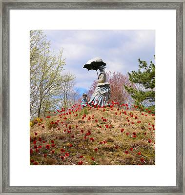 Woman With Parasol And Child Framed Print by Bill Cannon