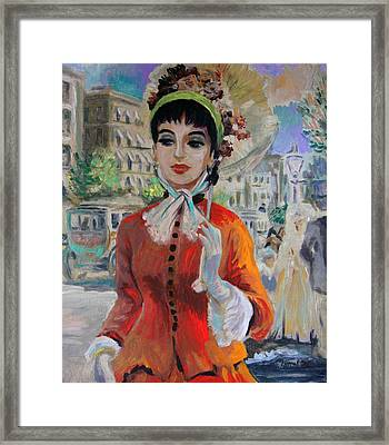 Woman With Parasol In Paris Framed Print by Karon Melillo DeVega