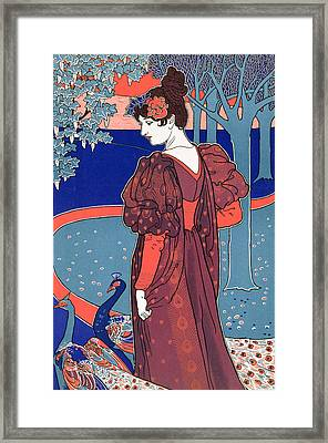 Woman With Peacocks Framed Print by Louis John Rhead