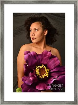 Woman With Purple Flower Framed Print by Timothy OLeary