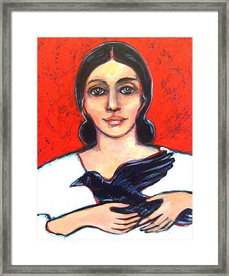 Woman With Raven Framed Print by Carol Suzanne Niebuhr