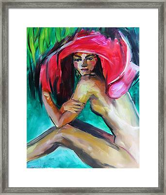 Woman With Red Hat Framed Print by Nelya Shenklyarska