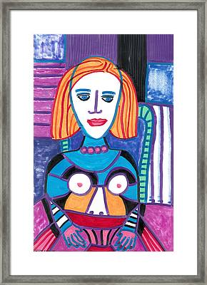Woman With Red Orange Hair Framed Print
