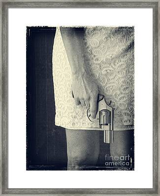 Woman With Revolver 60 X 45 Custom Framed Print by Edward Fielding