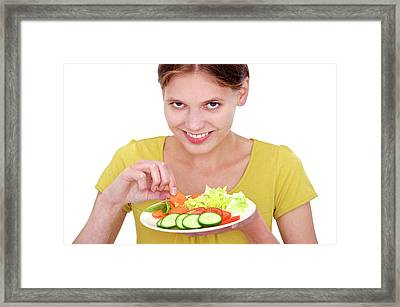 Woman With Salad Framed Print
