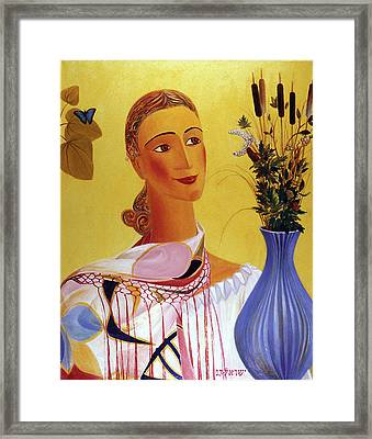 Woman With Shawl Framed Print
