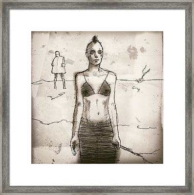 Woman With Stick Framed Print
