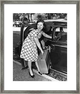 Woman With Suitcase Framed Print by Underwood Archives