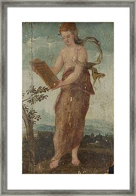 Woman With Text Panel, Circle Of Lambert Sustris Framed Print