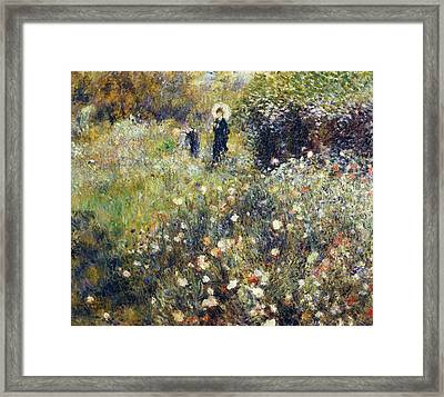 Woman With Umbrella In Garden Framed Print by Pierre-Auguste Renoir