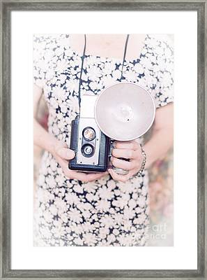 Woman With Vintage Camera Framed Print by Edward Fielding