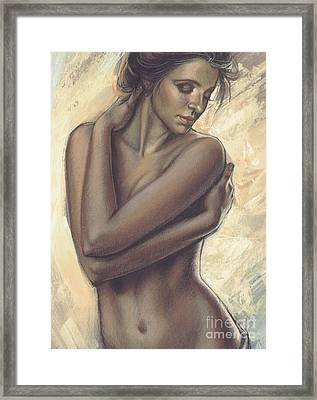 Woman With White Drape Crop Framed Print