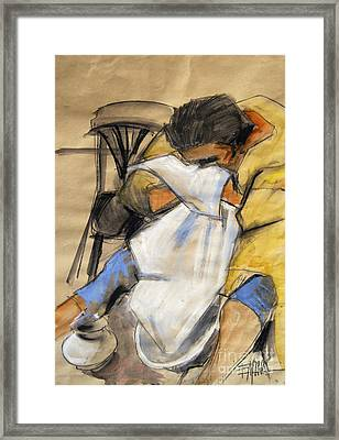 Woman With White Towel - Helene #9 - Figure Series Framed Print
