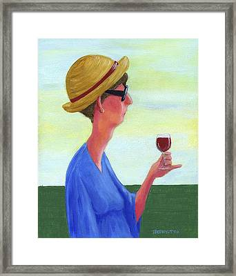 Woman With Wine Framed Print by Theresa Johnson
