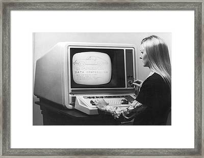 Woman Working At 1975 Monitor Framed Print